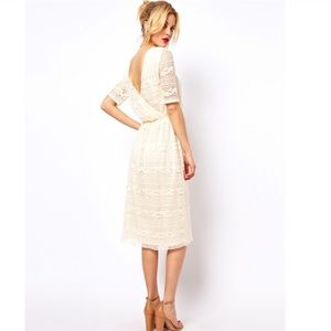 ASOS Lace Midi Dress in Ivory